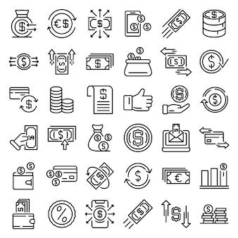 Zestaw ikon zwrotu pieniędzy, styl konturu