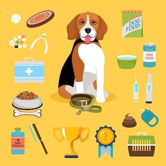 Zestaw ikon życia psa i ładny szczeniak