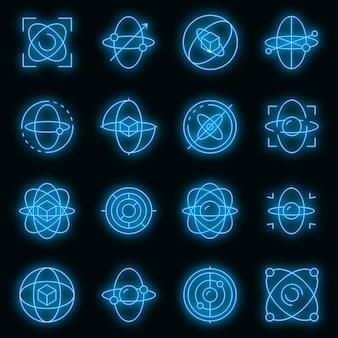 Zestaw ikon żyroskopu. zarys zestaw ikon wektorowych żyroskopu w kolorze neonowym na czarno
