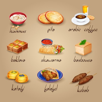 Zestaw ikon żywności arabskiej