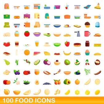 Zestaw ikon żywności. ilustracja kreskówka ikony żywności na białym tle