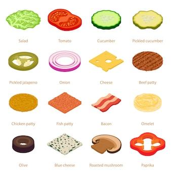 Zestaw ikon żywności kromka. izometryczne ilustracja 16 ikon wektorowych żywności plasterek dla sieci web