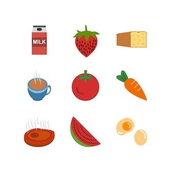 Zestaw ikon żywności na białe tło wektor na białym tle elementów