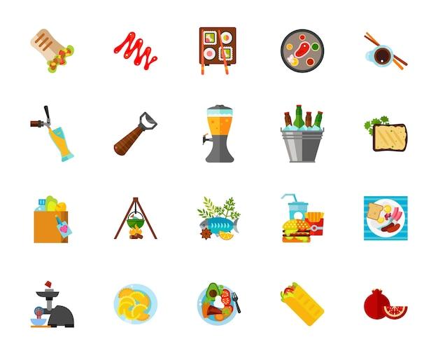 Zestaw ikon żywności na piknik