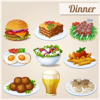 Zestaw ikon żywności. obiad.