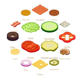 Zestaw ikon żywności pokroić, styl izometryczny