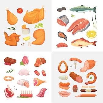 Zestaw ikon żywności różnego rodzaju mięsa. szynka surowa, kurczak z grilla, kawałek wieprzowiny, pieczeń, całe udko, wołowina i kiełbaski. ryby i owoce morza z łososia.