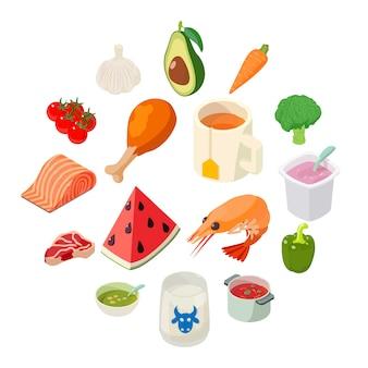 Zestaw ikon żywności, styl izometryczny