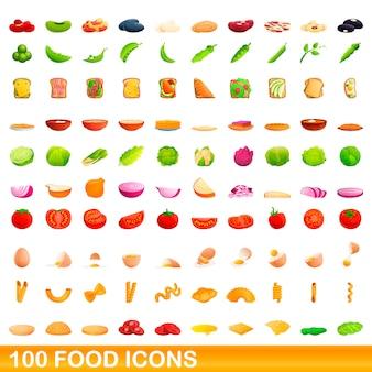 Zestaw ikon żywności, stylu cartoon