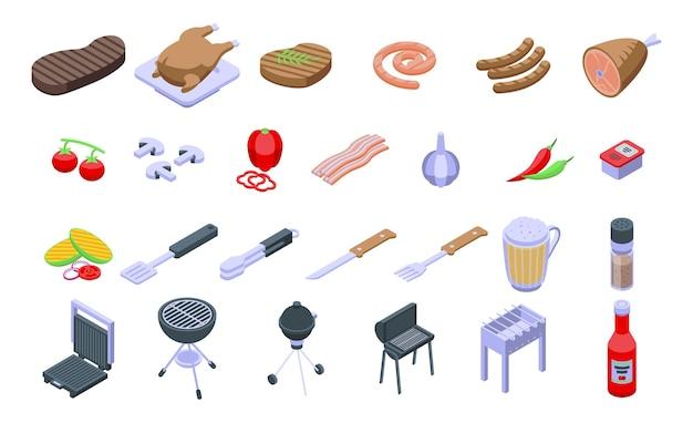 Zestaw ikon żywności z grilla. izometryczny zestaw ikon wektorowych z grilla do projektowania stron internetowych na białym tle
