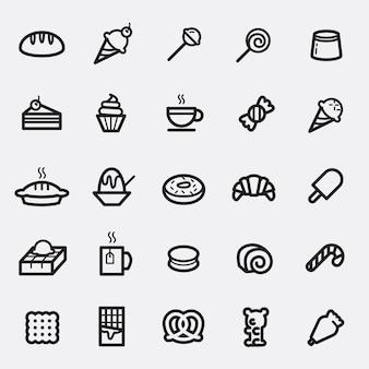 Zestaw ikona deser i słodycze