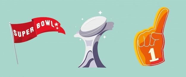 Zestaw ikona futbolu amerykańskiego, super bowl