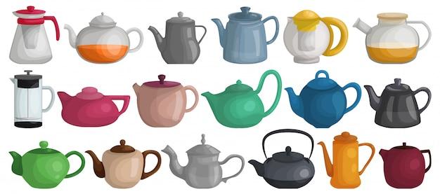 Zestaw ikona kreskówka czajniczek. ilustracja czajnik na białym tle.