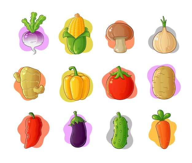Zestaw ikona kreskówka warzyw