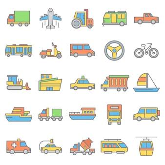 Zestaw ikona pojazdu i transportu publicznego