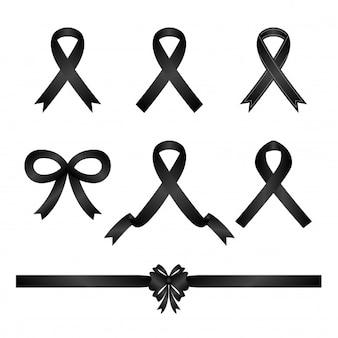 Zestaw ikona wstążka czarny kondolencje