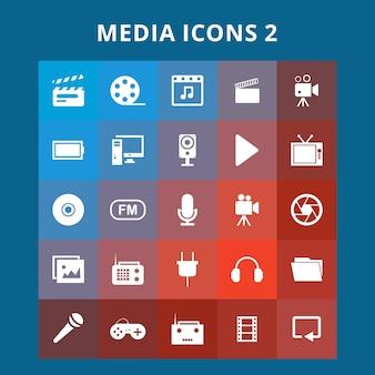 Zestaw ikony mediów