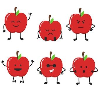Zestaw ilustracja jabłko owoc emotikony