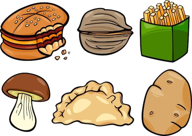 Zestaw ilustracja kreskówka jedzenie