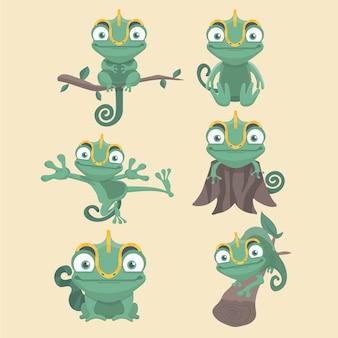 Zestaw ilustracja kreskówka kameleon.