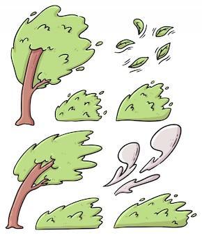 Zestaw ilustracja kreskówka wietrznych drzew, liści i krzewów
