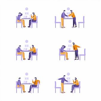 Zestaw ilustracji - 2 osoby siedzą przy biurku w różnych pozach. dyskutuj, rozmawiaj, negocjuj, rozmawiaj. spotkanie ludzi biznesu. ludzie omawiają problemy robocze. płaski charakter postaci.