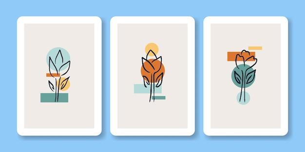Zestaw ilustracji abstrakcyjne dziki kwiat plakat