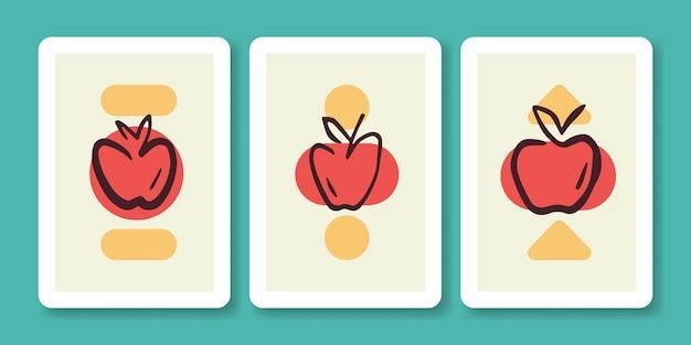 Zestaw ilustracji abstrakcyjne jabłko