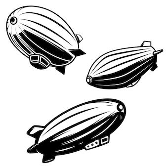 Zestaw ilustracji aerostatu na białym tle. sterowce zeppeliny. elementy logo, etykiety, godła, znaku. wizerunek