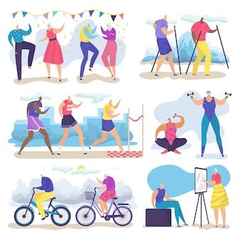 Zestaw ilustracji aktywnych starszych ludzi starszych, kreskówka grupa starszych postaci spacery, bieganie, taniec na białym tle