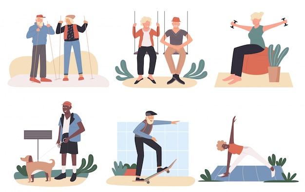 Zestaw ilustracji aktywnych starych ludzi. kreskówka płaska kolekcja zdrowego stylu życia z ćwiczeniami jogi sportowej, spacery ze starszymi przyjaciółmi lub psem, jazda na deskorolce na białym tle