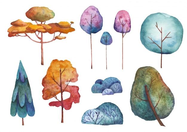 Zestaw ilustracji akwarela drzew