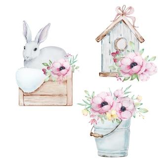 Zestaw ilustracji akwarela ładny szaro-biały zajączek w koszu, ptaszarnia, wiaderko z bukietem kwiatów zawilców.