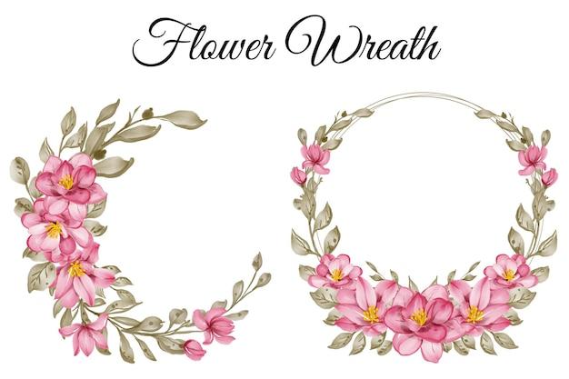 Zestaw ilustracji akwarela różowy wieniec kwiatów