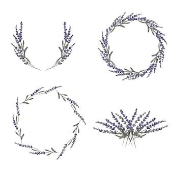 Zestaw ilustracji akwarela wieniec kwiatów lawendy