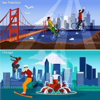 Zestaw ilustracji amerykańskich miast