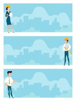 Zestaw ilustracji architektów w pracy