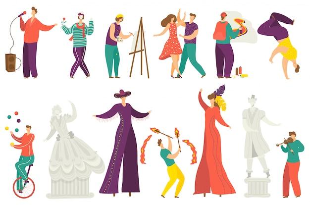 Zestaw ilustracji artysty ulicznego, postaci z kreskówek aktywnych artystów wykonujących pokaz, artystyczny występ uliczny na białym tle