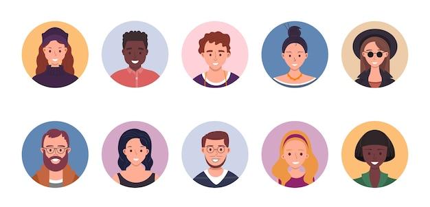 Zestaw ilustracji avatar ludzi
