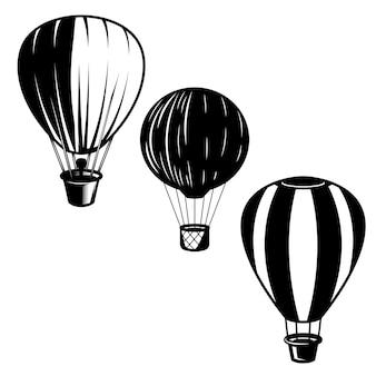 Zestaw ilustracji balonów powietrznych. element na logo, etykietę, godło, znak. wizerunek