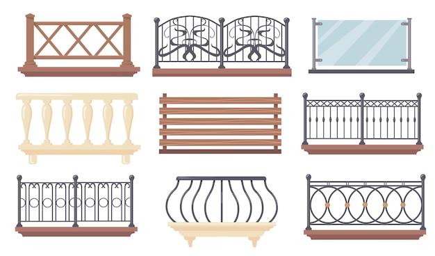Zestaw ilustracji balustrad balkonowych w stylu vintage i nowoczesnych