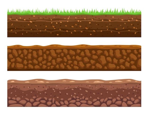 Zestaw ilustracji bez szwu gruntów lub gleb.