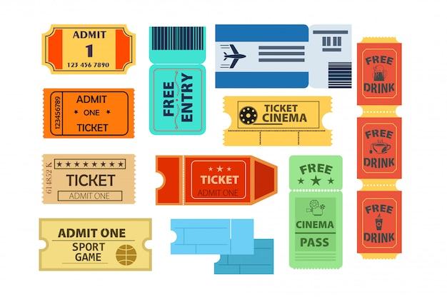 Zestaw ilustracji biletów