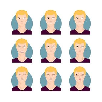 Zestaw ilustracji blond mężczyzna. żółte włosy młody mężczyzna, chłopiec w stylu cartoon z różnymi wyrazami twarzy i emocjami. ilustracja wektorowa postaci.