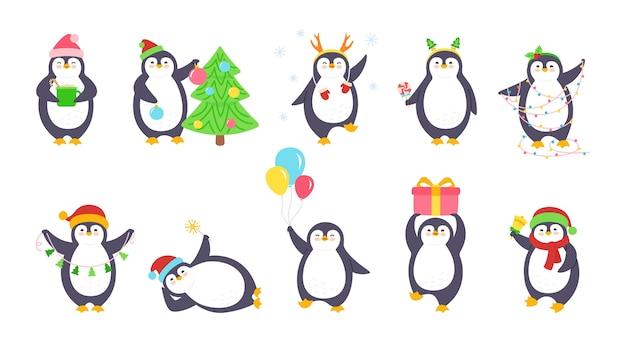 Zestaw ilustracji boże narodzenie pingwina