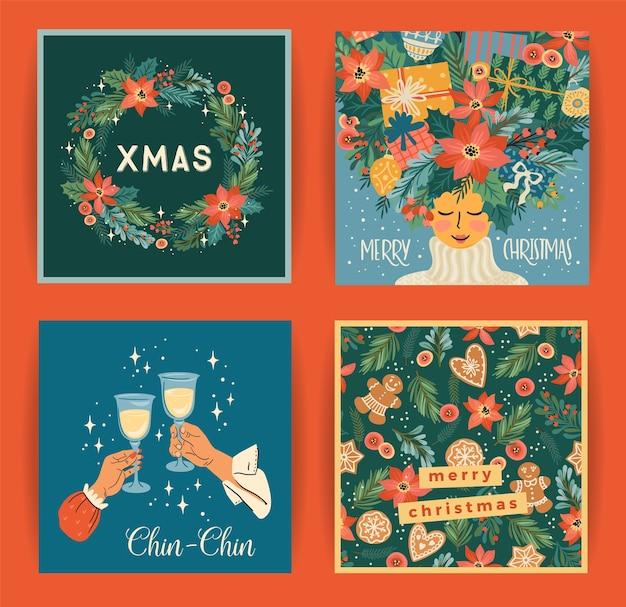 Zestaw ilustracji bożego narodzenia i szczęśliwego nowego roku na kartę, plakat i inne zastosowania