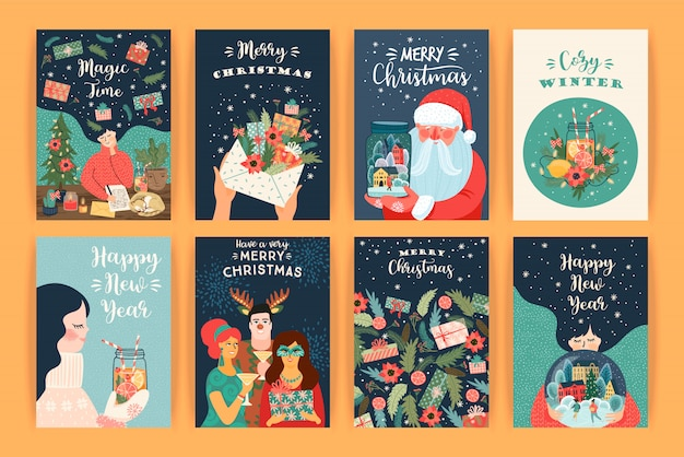 Zestaw ilustracji bożego narodzenia i szczęśliwego nowego roku. szablony projektów wektorowych.