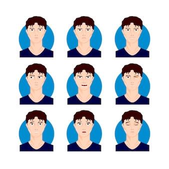 Zestaw ilustracji brunetka mężczyzna. czarnowłosy młody mężczyzna, chłopiec w stylu cartoon, twarze, portrety z różnymi wyrazami twarzy i emocjami. ilustracja wektorowa postaci.