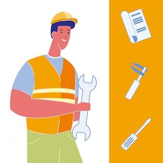 Zestaw ilustracji budowlanych, narzędzi budowlanych