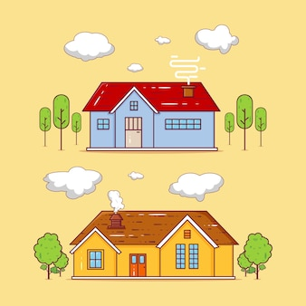 Zestaw ilustracji budynków dwóch domów